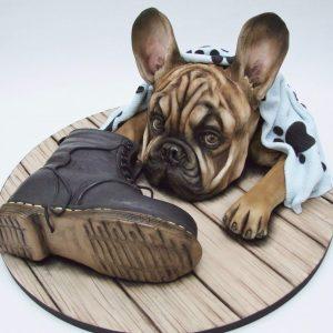 Emma Jaynes french bulldog puppy novlety cake masterclass at the london cake academy