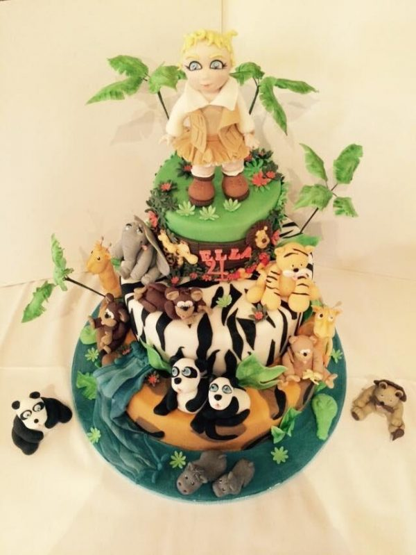 jungle themed cake with handmade figures