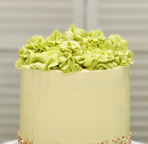 Close up of details on buttercream cake