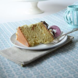 A slice of vanilla sponge cake